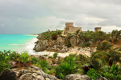 Keywords: tulum maya ruins mexico stones green tropical landscapes